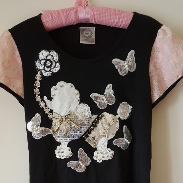 韓版釘珠狗狗造型蕾絲公主袖上衣