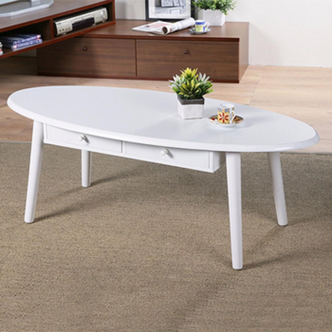 北歐風格多功能橢圓兩抽收納和室桌/茶几桌/邊桌(三色選擇)