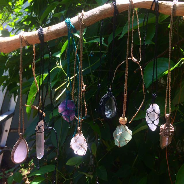 南美蠟繩手工編織水晶原礦天然石項鍊