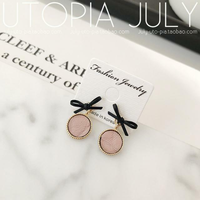 韓國飾品💕氣質甜美蝴蝶結皮質耳針