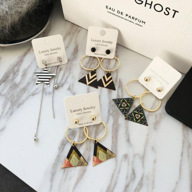 韓國飾品❤彩繪集合三角形耳飾