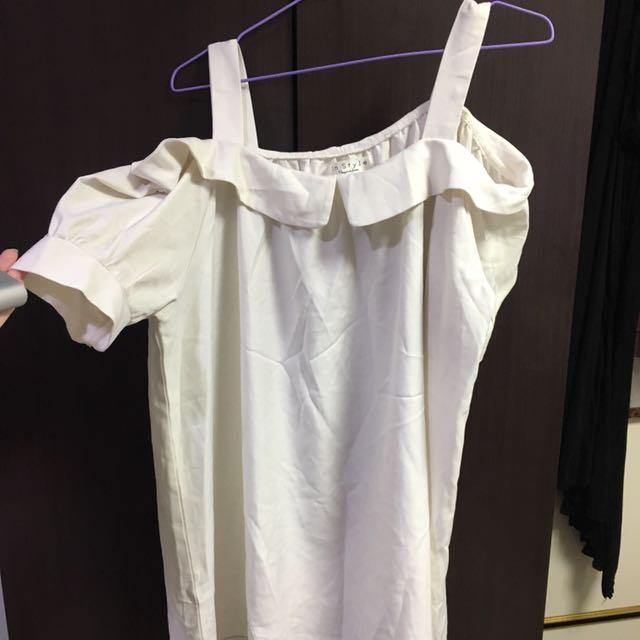 吊帶平口白色上衣