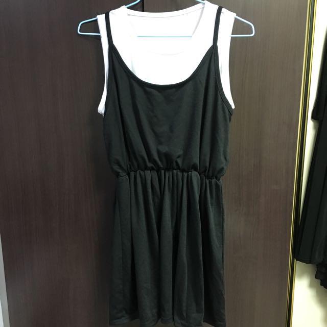 假兩件背心洋裝