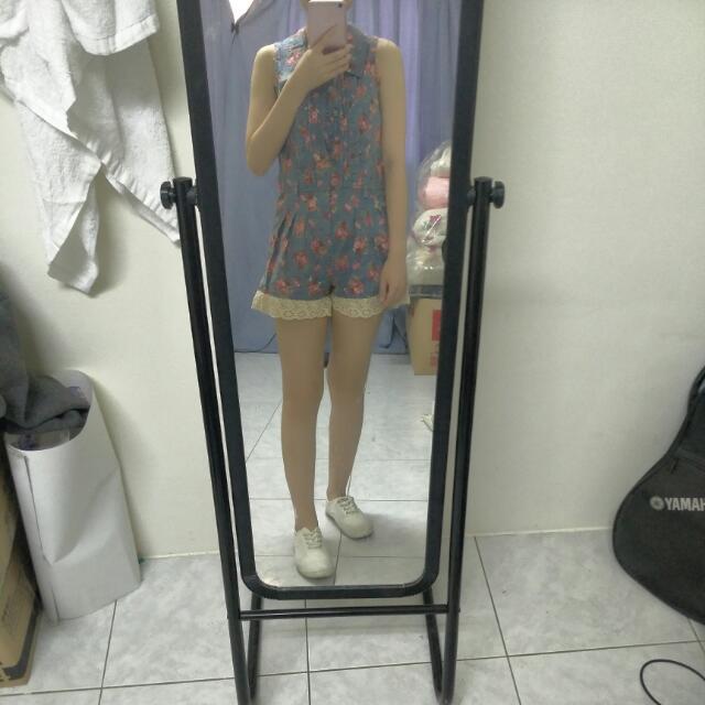 藍色蕾絲小碎花文青褲裙連身洋裝