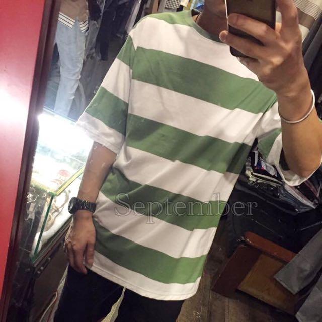 [詢問度破表!!!!] 落肩五分袖寬版條紋上衣~綠白/灰白/深藍白