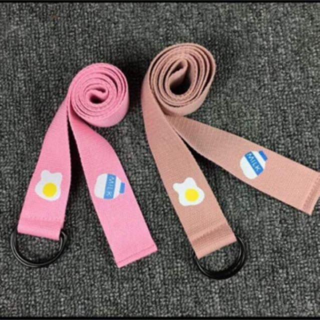 韓國 糖果粉紅帆布皮帶