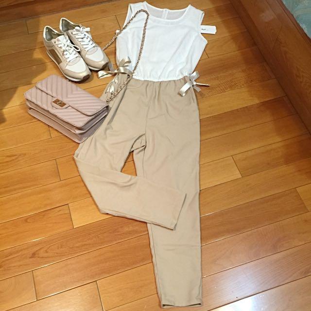 日本品牌 H2O 透氣夏日上班OL感氣質連身七分褲