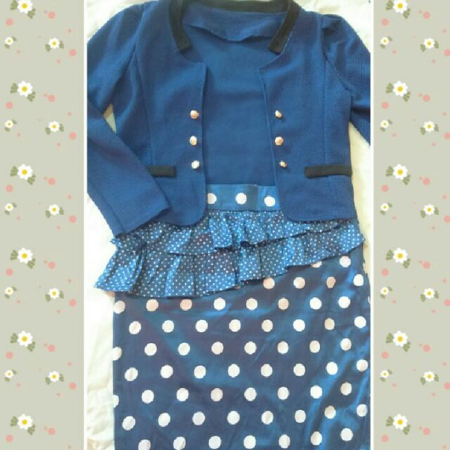 Blue Blazer x Peplum Polka Skirt