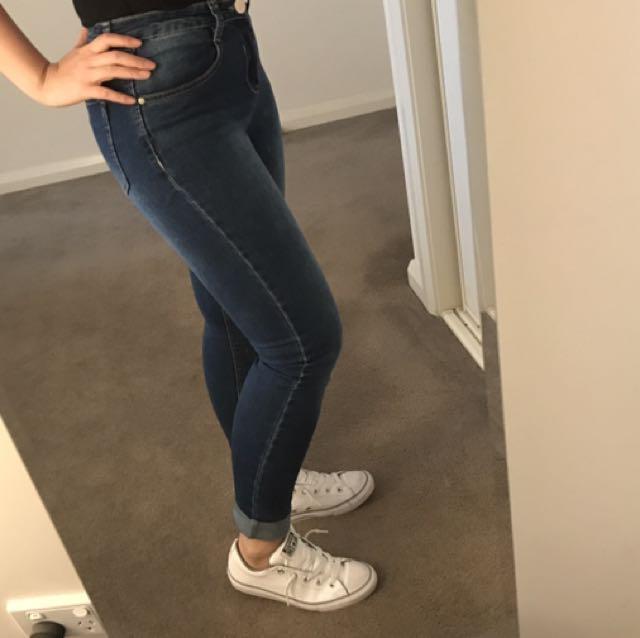 Blue Denim Jeans (mid Rise)