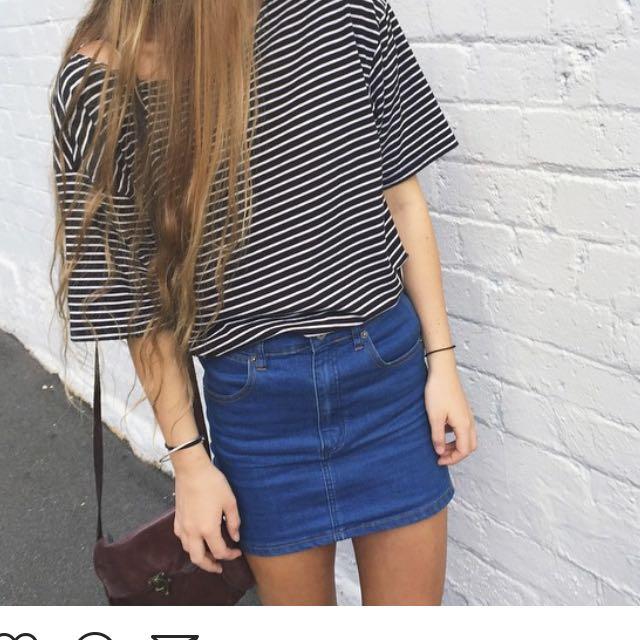 Blue Denim Skirt High Waist