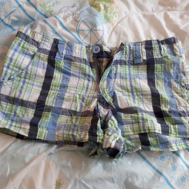 Blue Green Plaid Preppy Shorts