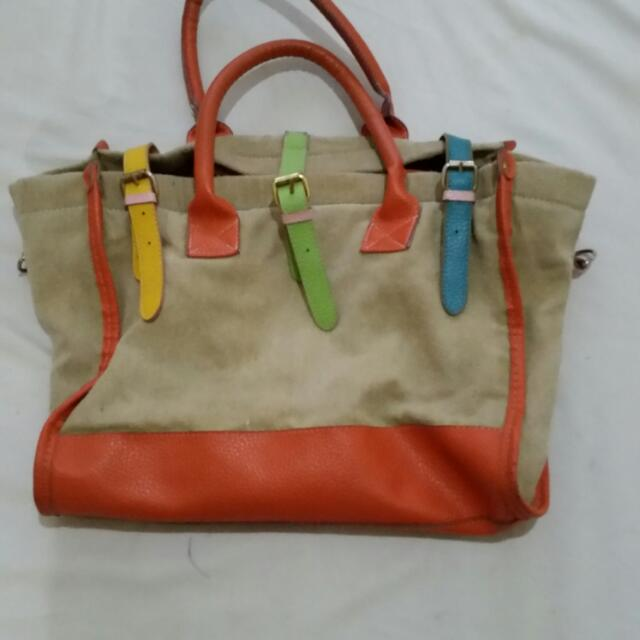 Brown Bag With Colored Straps