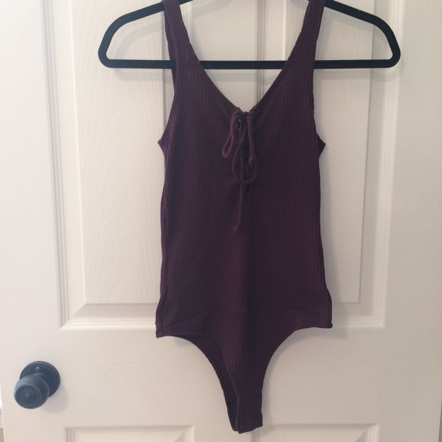 Burgundy Lace-Up Bodysuit