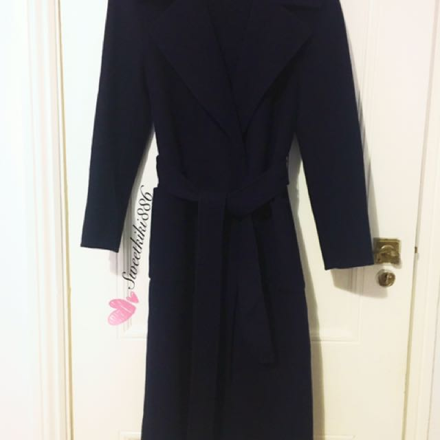 Cashmere Navy Trench Coat Size8-10