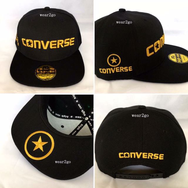 872a2cadc560 CONVERSE (4) SnapBack Cap in Black Color   Gold Logo