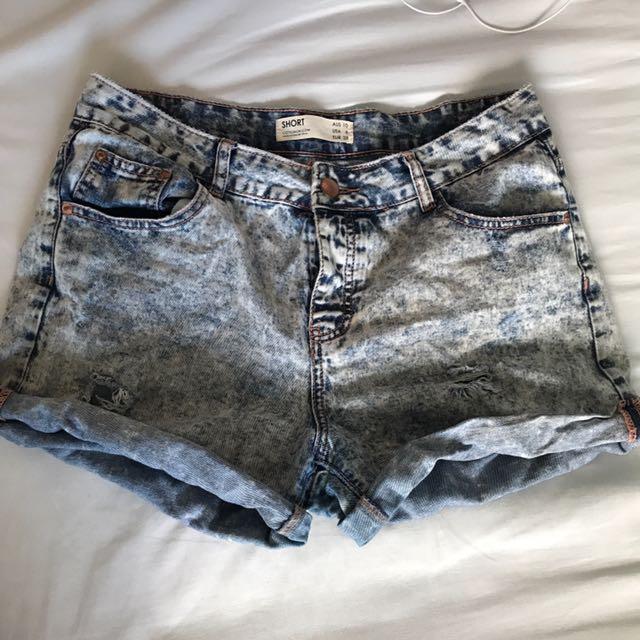 Cotton On Acid Wash High Waist Shorts