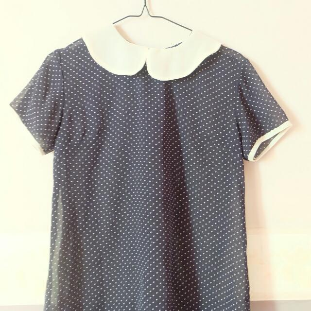 Cute Navy Polkadot Tops