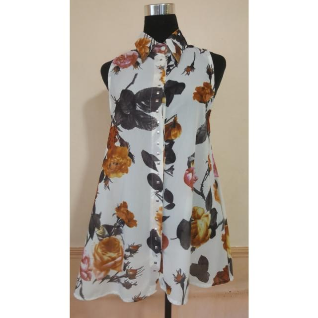 Earth colors floral sheer blouse