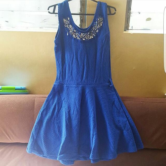 Detailed Blue Dress
