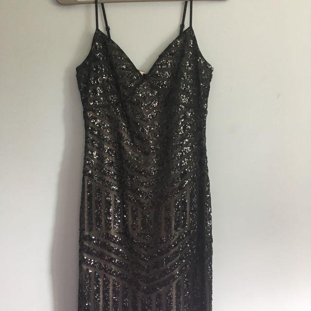 Express Knee Length Black Sequin Dress