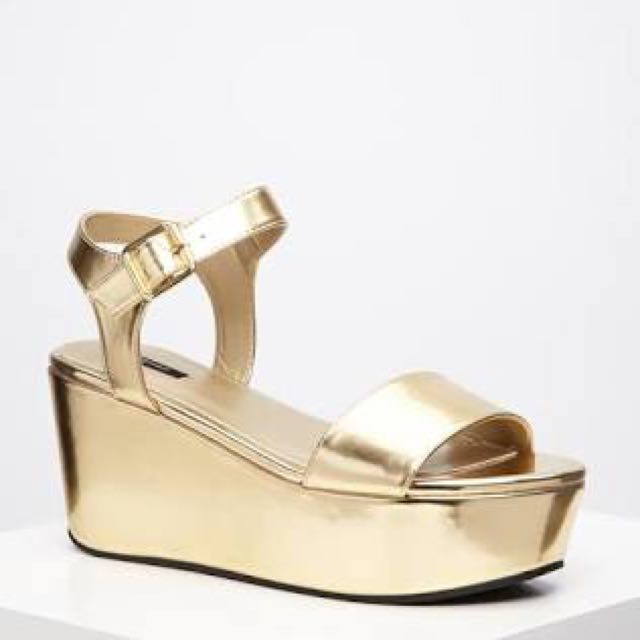 F21 Gold Platform Sandals