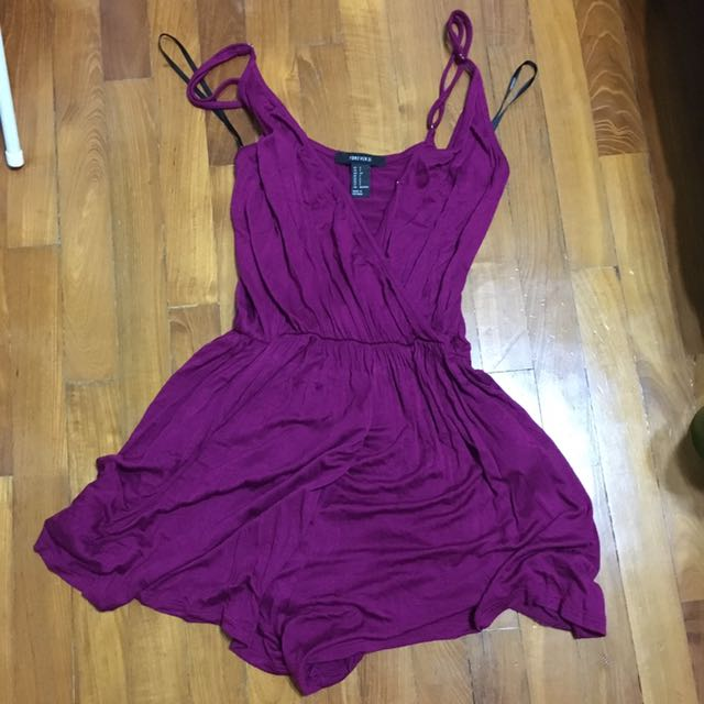 501fca91822 Forever 21 Purple Wrap Romper  Playsuit