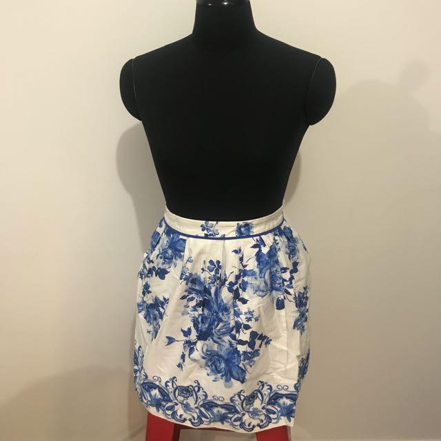 FOREVER NEW Blue Flower Pattern Skirt