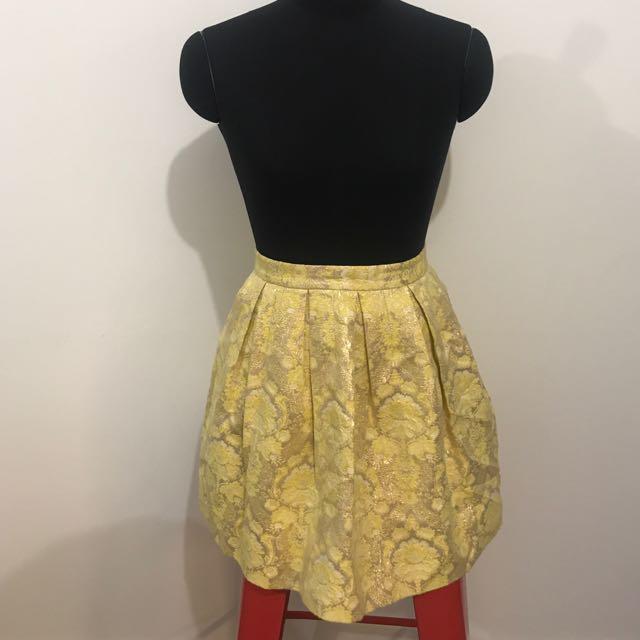Forever New Yellow Gold Pattern Skirt
