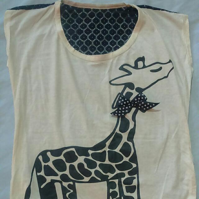 Giraffe Top With Lace Back Details