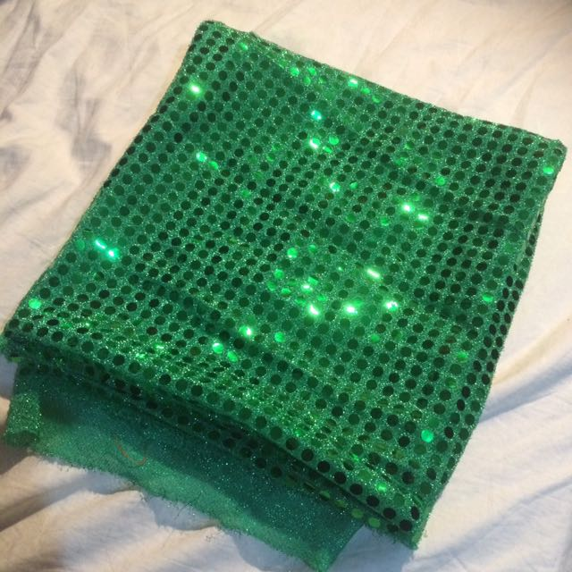 Green Sparkly Material