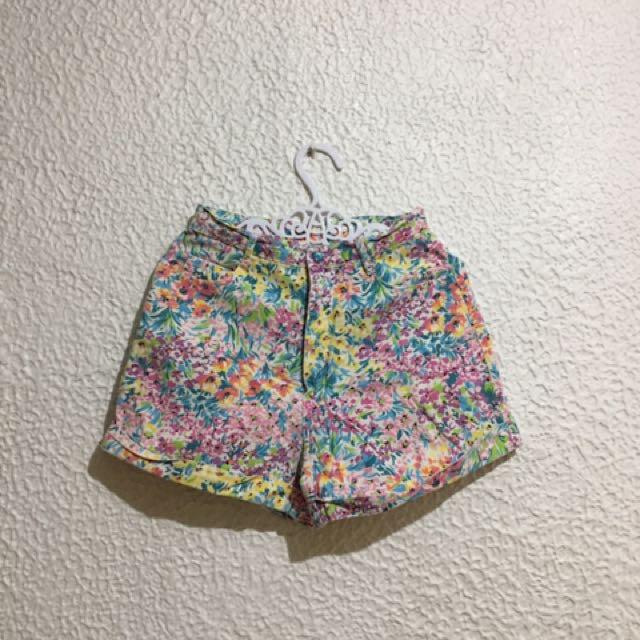 Highwaist Floral Shorts Maong