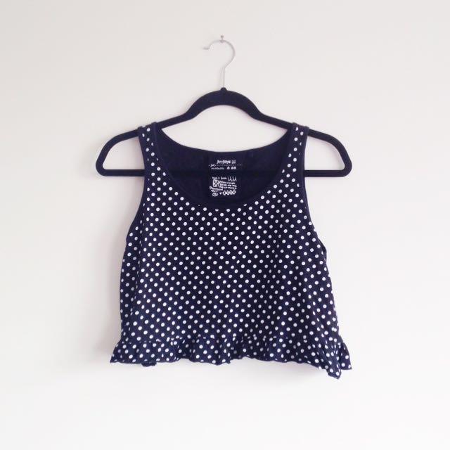 Jay Jays black and white polka dot spotty ruffle hem crop top