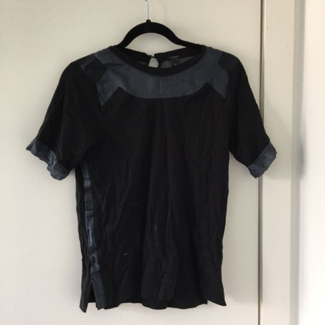 J-Crew Black T-Shirt With See-Through Panels