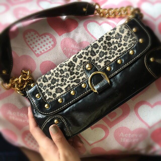 Leather Tiger Fur Shoulder Bag