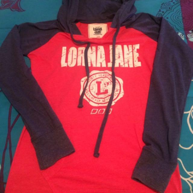 Lorna Jane Long Sleeve Hooded Top Size M