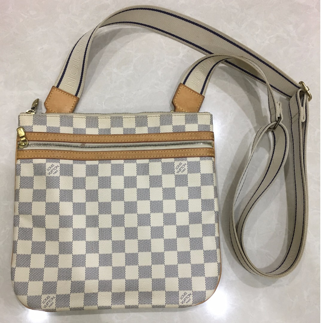 6ff93186dd7d Louis Vuitton Pochette Bosphore N51112 Damier Azur Canvas Leather ...