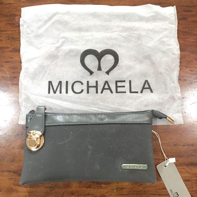 Michaela Dark Gray Clutch Bag with Glitters