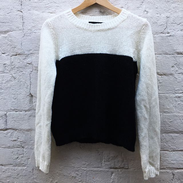 MINKPINK SZ S Black And White Knit