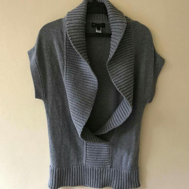 MNG Gray Knitted Poncho