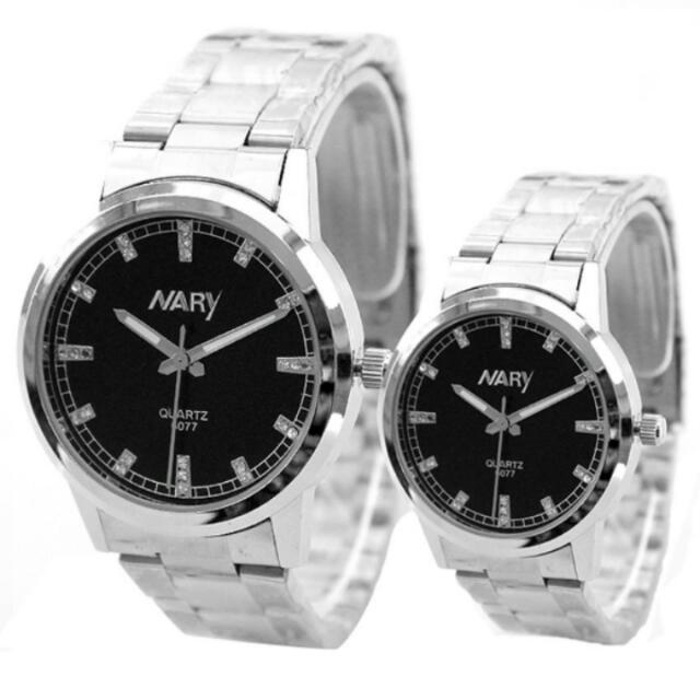Nary Couple Black/Silver Stainless Steel Strap Watch  NR-6077