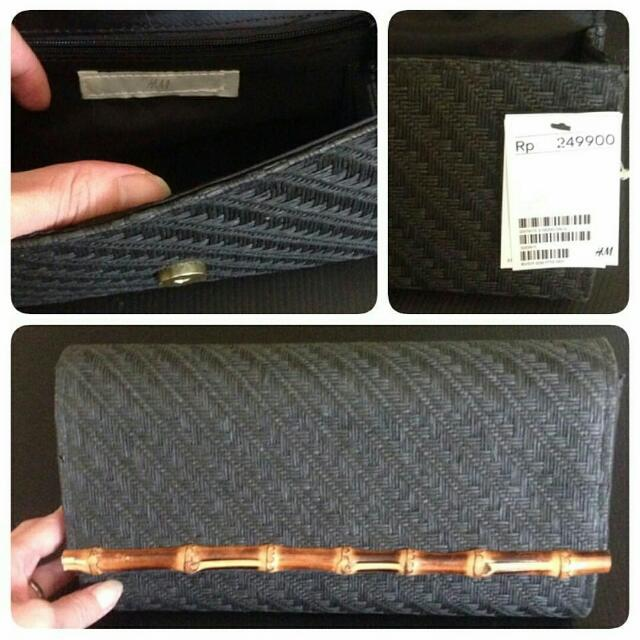 NEW - H & M Black Rattan Clutch