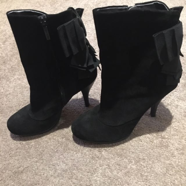NINE WEST Black Suede Leather Boots With Bow Detail