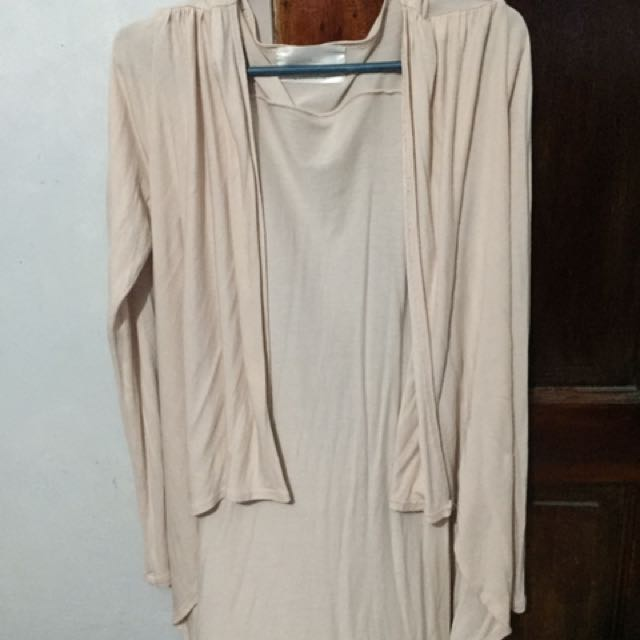 nude pink long back cardigan