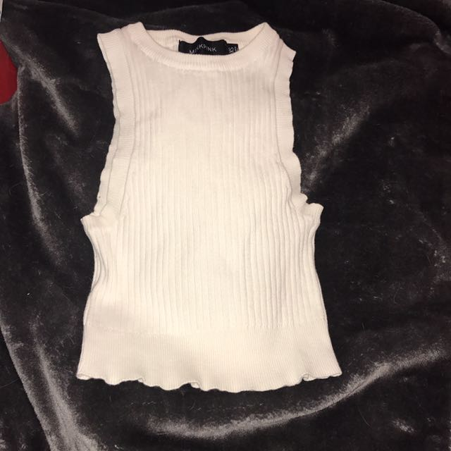 Ribbed Mink Pink Crop Top Cheap Xs Small
