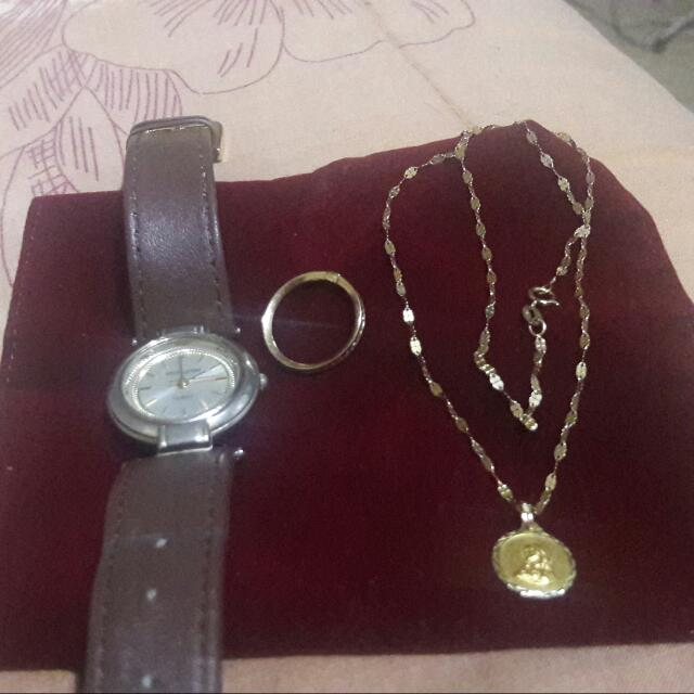 RUSH SALE! Can Be Pawned. Authentic Gold Jewelry Set (Affordable Price) No More Tawad Please. This Is A Very Discounted Price.