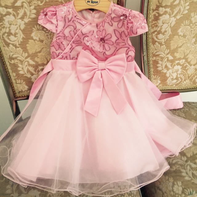 SALE! Gaun Pesta Anak Pink Dengan Payet & Pita/ Girl Party Dress Baby Pink