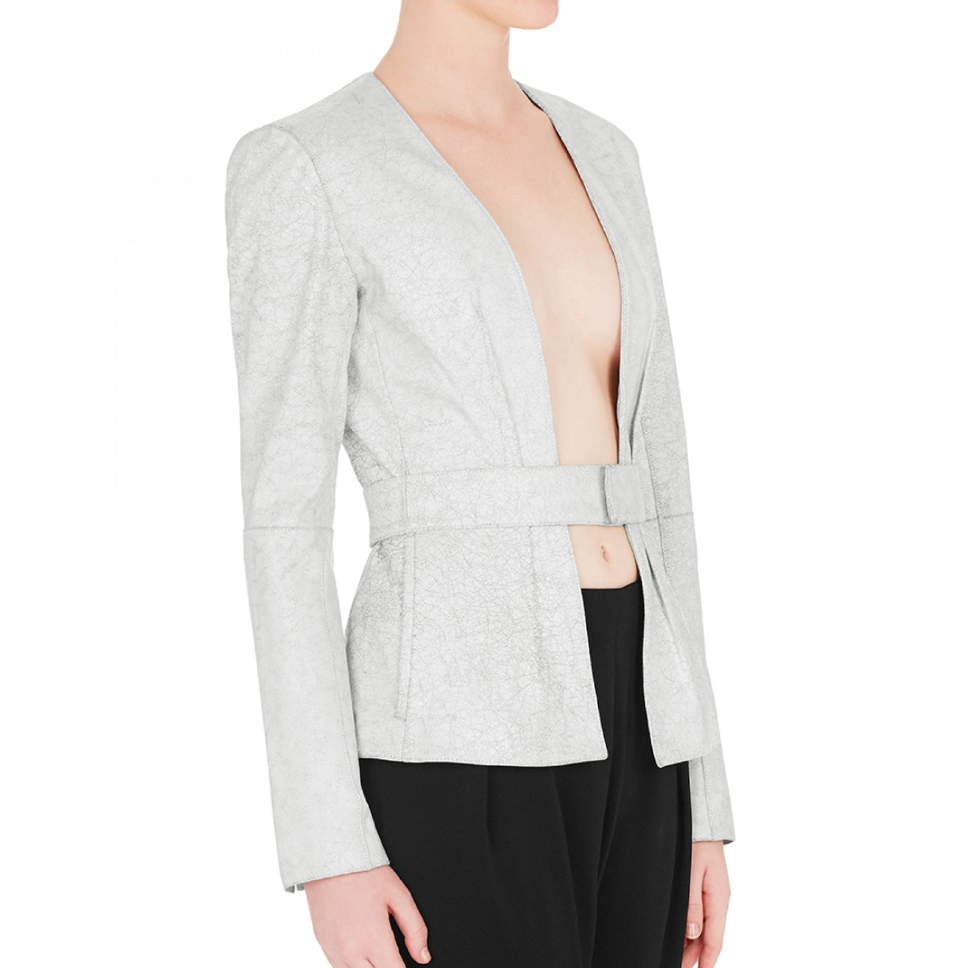 Sass & Bide - Your Song In Grey Leather Jacket - Grey - Size 8/10 - BNWT - RRP $1000