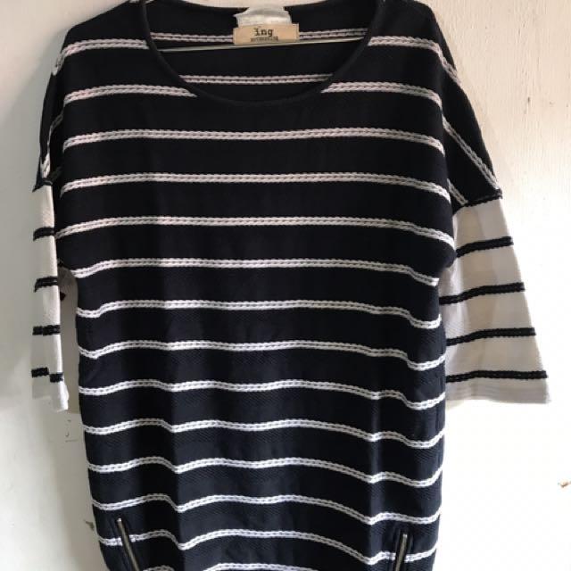 Semi Long Tee Stripes/Zip