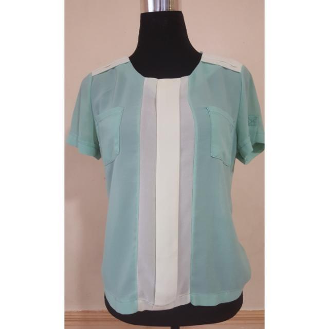 Sheer mint green blouse