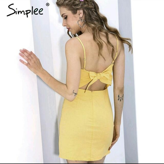 Simplee Checkered Dress Tie Back